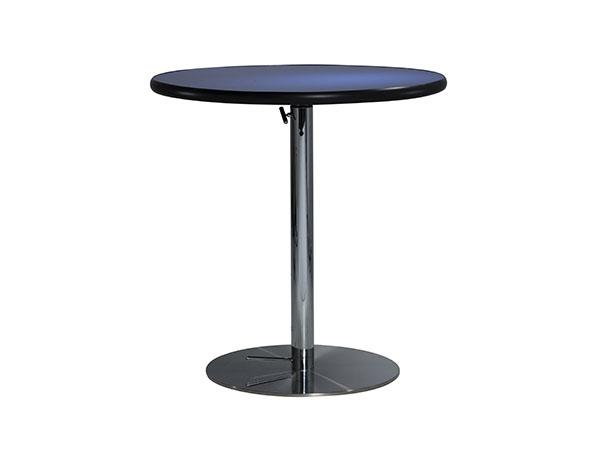 "30"" Round Café Table w/ Blue Counter Top and Hydraulic Base -- Trade Show Furniture Rental"